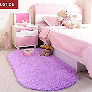 Ustide High Pile Bedside Rugs Velvet Living Room Carpet Purple Super Soft Fuzzy Area Rug Non Slip Back Floor Oval