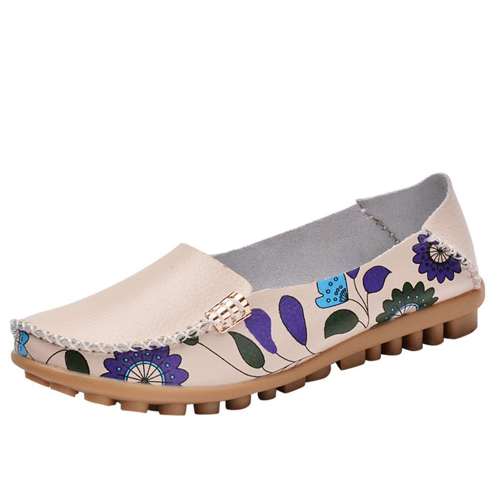 Shusuen Fashion Women's Slip On Flats Shoes Comfort Walking Classic Round Toe Shoes Pumps Loafers Beige