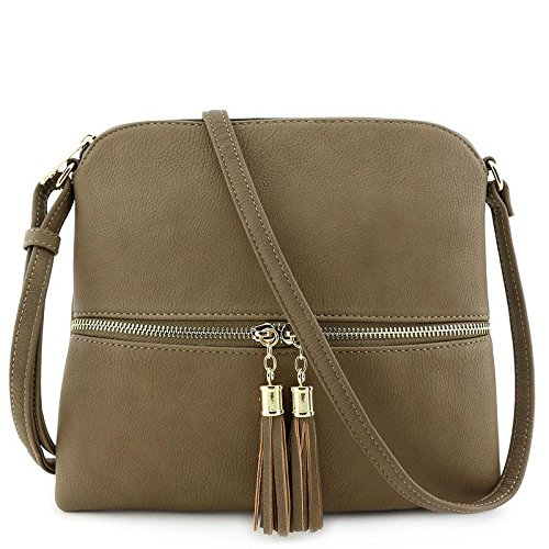 Lightweight Medium Crossbody Bag with Tassel Khaki