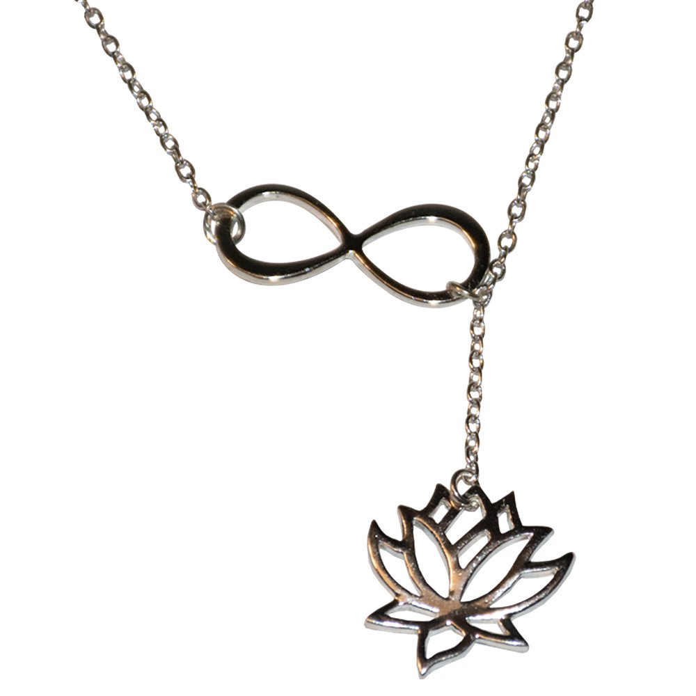 Chandria's Treasures Lotus Flower Infinity Lariat Necklace Silver Plated - Summer Sale