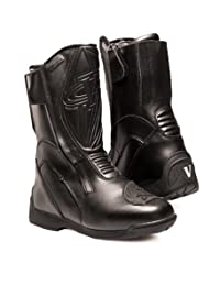 Vega Technical Gear 2500-110 Touring Men's Motorcycle Boots, Black, Size 10