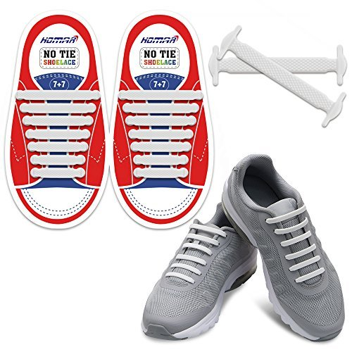 Homar Durable Kids Sports Fan Shoelaces - Best in No Tie Shoelace Replacement Accessories - Rubber Children Elastic Athletic Running Shoelaces Flat Shoe Laces for Sneakers Boots Oxford - White