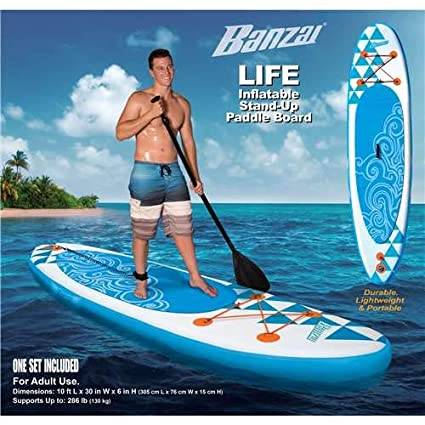Amazon.com : BANZAI 10 Inflatable Stand Up Paddle Board w/Paddle & Backpack (Open Box) : Sports & Outdoors