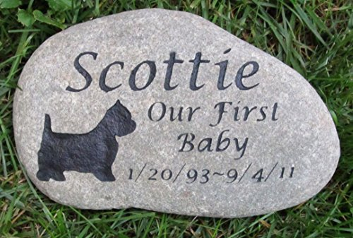 Scottie Memorial Stone Gifts, Pet Memorial Stone, Dog Memorials, Burial Stone, Grave Marker. 9-10 Inch All Breeds Available