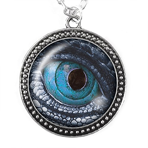 Costume Game Of Wight Thrones (Dragon Eye in Blue - Necklace, Silver Pendant with Domed Glass, Ice Dragon)