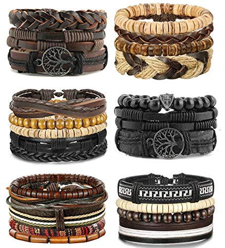 LOLIAS 24 Pcs Woven Leather Bracelet for Men Women Cool Leather Wrist Cuff Bracelets Adjustable
