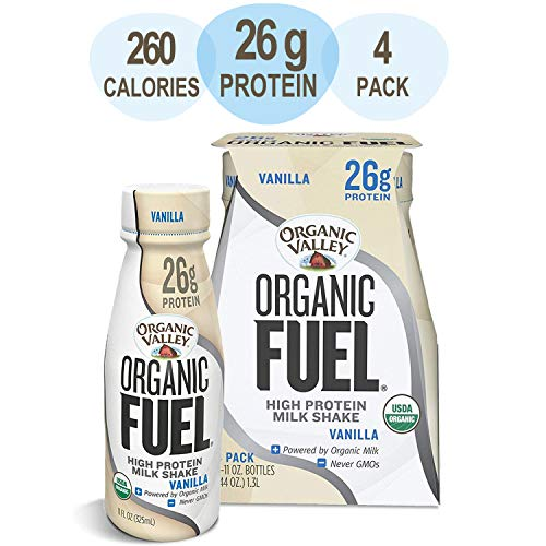 (Organic Valley Milk Protein Shake, Healthy Snacks for Post Workout Recovery, Organic Fuel High Protein 26g, Vanilla, 11oz (Pack of 4))