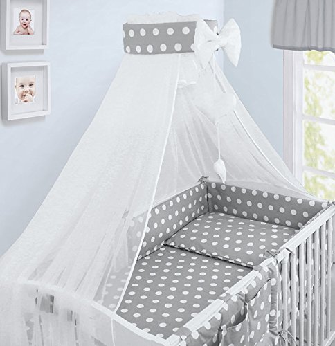 LUXURY 10Pcs BABY BEDDING SET COT PILLOW DUVET COVER BUMPER CANOPY to Fit Cot Size 120x60cm 100% COTTON (Elephants Grey) TheLittles24