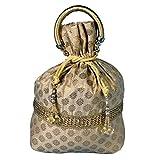 Traditional Women Silk Brocade Drawstring Potli Bag Evening Party Gift Handbag