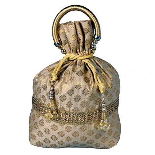 Evening Brocade Bag - Maitri Creations Traditional Women Silk Brocade Drawstring Potli Bag Evening Party Gift Handbag