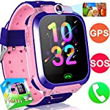 Kids Smart Watch Phone GPS Tracker Watch for Girls Boys 1.5″ Touchscreen Child Smartwatch with Flashlight SOS Anti-Lost Camera Alarm Clock Holiday Birthday Gift