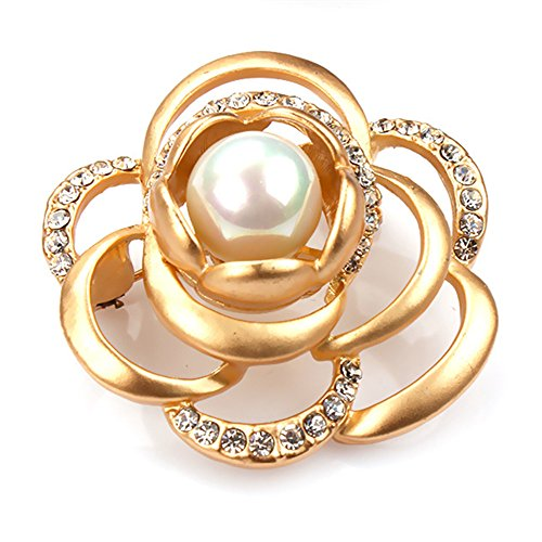 Aizbao Badge Brooch,Round Bead Fashion Roses Acrylic Diamond Corsage Pin Refined Hollow-Out Brooch Fashion Jewelry (Gold)