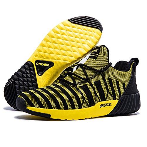 Yellow ONEMIX Shoes Women's Walking Men's Black Running Sneakers Jogging q0Haw0
