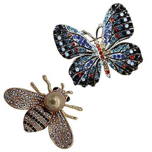 ZUOZUOYA 1 Pcs Lovely Honey Bee Brooch and 1 Pcs Winged Butterfly Brooch - Fashion Crystal Rhinestones Brooch Pins - Great for Wife,Sisters and Friends