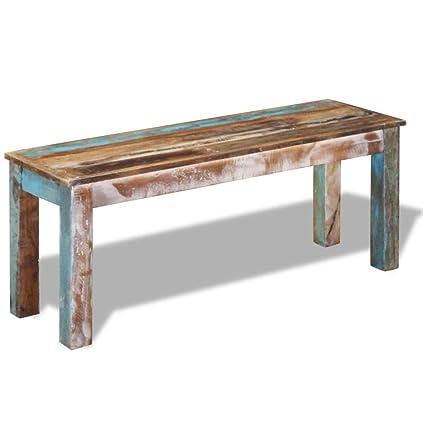 vidaXL Banco madera maciza reciclada 110x35x45 cm: Amazon.es: Hogar