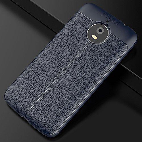 Motorola Moto E4 Plus Hülle, MSVII® Anti-Shock Weich TPU Silikon Hülle Schutzhülle Case Und Displayschutzfolie für Motorola Moto E4 Plus - Blau JY90135