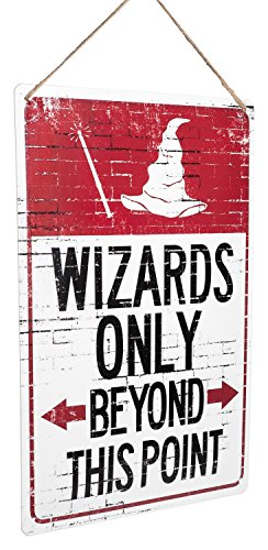 "(Monarch Housewares Tin Metal Signs - ""Wizards Only Beyond This Point"" - Distressed, Warning Parking Sign, Witches, Warlocks, Halloween, Reproduction)"