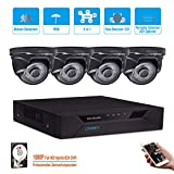 Cheap LONNKY 8CH Full 1080P 5-in-1 DVR Security System with 4 HD TVI Dome Outdoor 2.0MP Camera, 1TB HDD Hard Driver, 80ft Night Vision Camera, Intelligent Face Detection, Smartphone Remote Viewing, Black