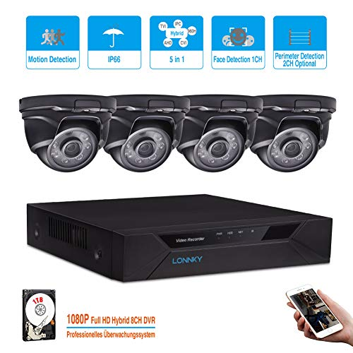 LONNKY 8CH Full HD 1080P 5-in-1 DVR Security System 4Pcs 2.0MP Waterproof Crystal Night Vision Dome Camera, with Intelligent Face Detection Motion detection, Smartphone Remote Viewing, 1TB HDD, Black