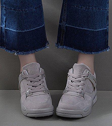 Aisun Donna Casual Traspirante Spessa Suola Punta Rotonda Allacciata Da Viaggio Sneakers Sportive Piatte Scarpe Da Corsa Grigie