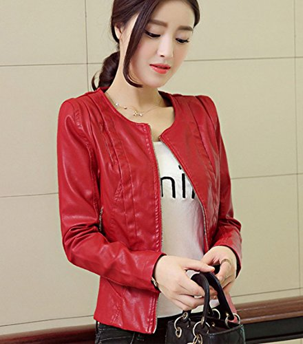 Blouson Longue Rouge Manteau Manche Moto Cuir YKK Faux Smile Court Automne Femme Veste Mode wqXB8vC