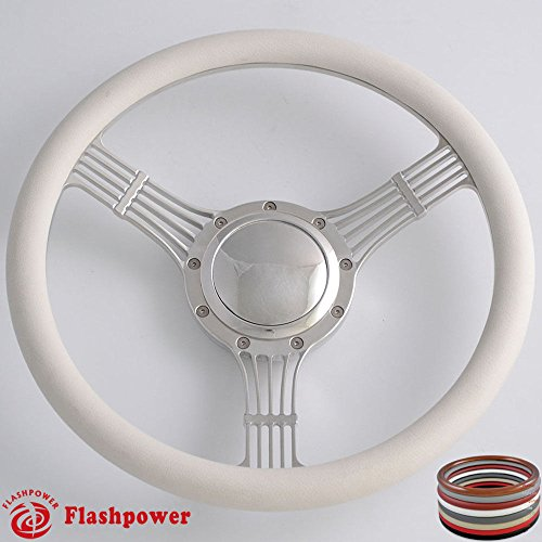 Flashpower 14'' Billet Banjo Half Wrap 9 Bolts Steering Wheel with 2'' Dish and Horn Button (White)