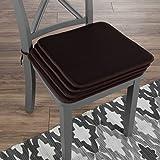 "Lavish Home 82-TEX1044BR Chair Cushions-Set of 4 Square Foam x 16"", Brown"