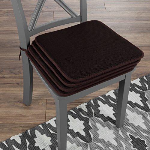"Lavish Home 82-TEX1044BR Chair Cushions-Set of 4 Square Foam x 16"", Brown by Lavish Home"