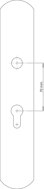 Fabricado en Espa/ña Color lat/ón antiguo satinado Barnizado mate Medida placa: 240x46 mm. Juego de manivelas de lat/ón