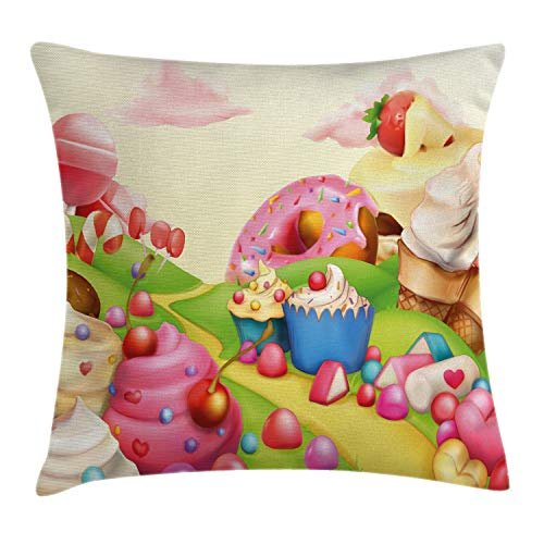 Ambesonne Pink Decor Throw Pillow Cushion Cover by, Food Theme Sweet Landscape of Candies Cupcakes Lollipop and Ice Cream Print, Decorative Square Accent Pillow Case, 18 X 18 Inches, Multicolor
