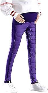 HaiDean Pantalon De Maternité Épaissie Collants Vêtements De Collants Chic Jeune Grossesse Chaud Élastique Jambières Pantalon De Soins Infirmiers Duvet De Canard Hiver Automne Jaune Noir Bleu None