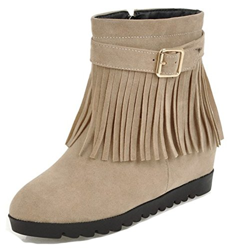 Aisun Womens Buckle Strap Fringed Inside Zip Up Round Toe Ankle Booties Mid Heel Elevator Hidden Wedge Short Boots With Fringes Beige rxmY4kR