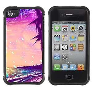Suave TPU Caso Carcasa de Caucho Funda para Apple Iphone 4 / 4S / Summer Sea Stars Vibrant Sunshine / STRONG