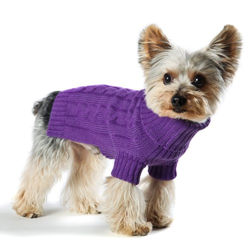 Stinky G Violet Turtleneck Dog Sweater, Classic Aran Knit #12 - M