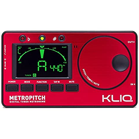 KLIQ MetroPitch - Metronome Tuner for All Instruments - with Guitar, Bass, Violin, Ukulele, and Chromatic Tuning Modes - Tone Generator - Carrying Pouch Included, (Bass Guitar Instrument)