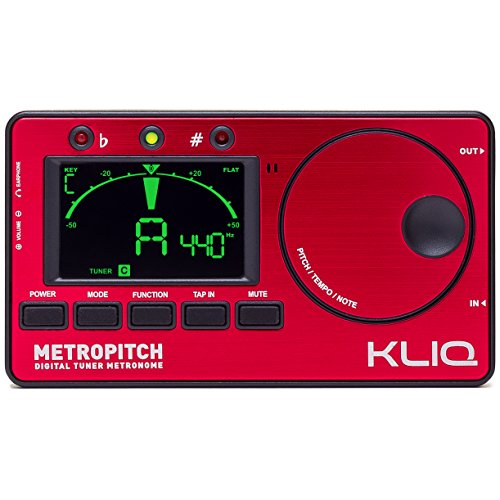 KLIQ MetroPitch - Metronome Tuner for All Instruments - with Guitar, Bass, Violin, Ukulele, and Chromatic Tuning Modes - Tone Generator - Carrying Pouch Included, Red Bass Electric Guitar Tuner