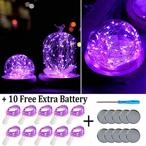 Fainyearn Battery Operated Fairy Lights 10 Pack Christmas Lights Battery Powered LED Lights for Centerpieces Home Garden Patio Holidays Decorations(Purple)]()