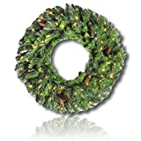 "Custom & Unique (30"" Inches) 1 Single Mid-Size Decorative Holiday Wreath for Door, Made of Resin, Glass & Metal w/ Festive Warm Light Flocked Pine Branch & Cones Style (Yellow, White, Green, & Brown)"
