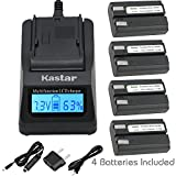 Kastar Fast Charger Kit and EN-EL1 Battery (4-Pack) for ENEL1 NP-800 and Nikon Cooipix 4300 4500 4800 5400 5700 775 8700 880 885 995 CoolpixE880 and Konica Minota DG-5W Dimage A200 Cameras