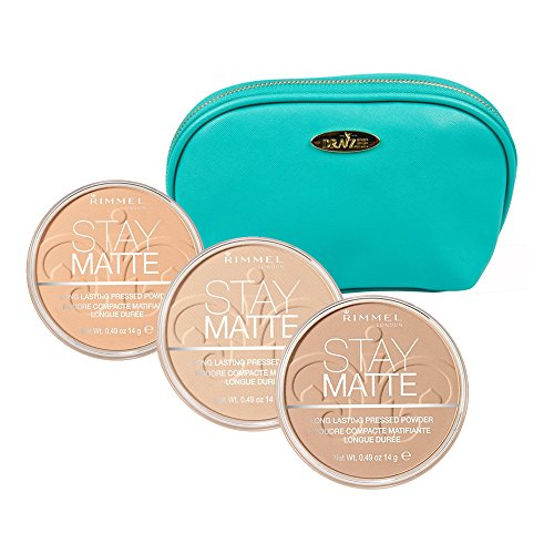 Rimmel 'Stay Matte' Pressed Powder Kit with Three Shades; Creamy Natural, Natural and Nude Beige with Aquamarine Draizee Leather Cosmetic Bag