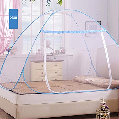 Adarl Indoor Portable Folding Bedroom Sleeping Mosquito Net Tent Canopy Attached Bottom with Double Zipper Door (40x75x43 inch)