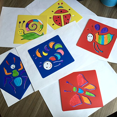 6 Pieces Washable Plastic Children's Drawing Template Board Set Toys Kids Painting Stencils Insects Color Random By DINGJIN by DINGJIN (Image #8)