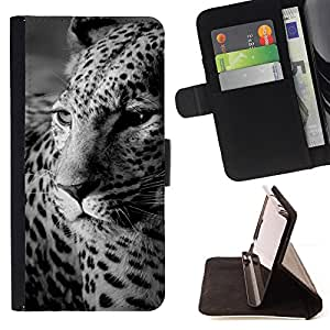 Leopard Print Fur Black White Cute Feline - Painting Art Smile Face Style Design PU Leather Flip Stand Case Cover FOR Apple Iphone 6 PLUS 5.5 @ The Smurfs