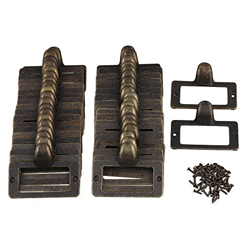 Mxfans 30 Pcs 56x46mm Metal Antique Bronze Card Holder Drawer Pull label Holders by Mxfans