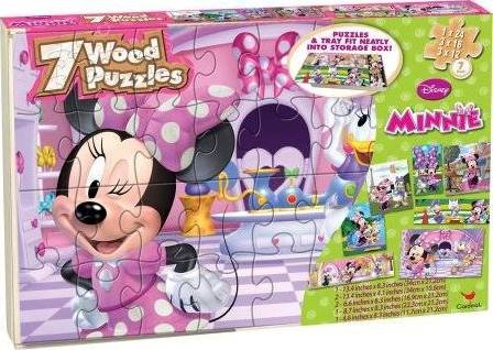 7 Pack Wood Puzzle Set Minnie In Wooden Storage Box ( Styles May Vary)