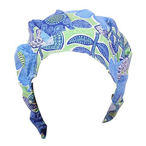 Doctor Classic Scrub Hat Adjustable Sweatband Bouffant Cap for Women Ponytail (Print 11)