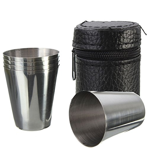 Beer Bottle Heineken Costume (4pcs Stainless Steel Camping Travel Tumbler Cup Mug Drinking Coffee Beer With)