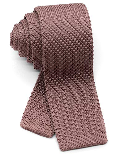 (WANDM Men's Knit Tie Slim Skinny Square Necktie Width 2.2 inches Washable Solid Color Dusty Rose Pink)
