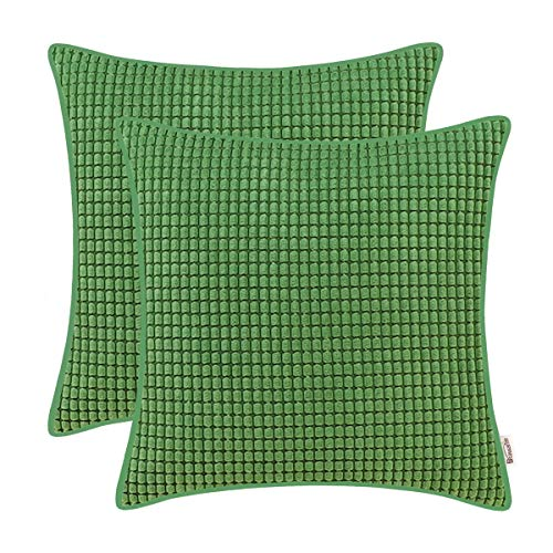 (BRAWARM Cozy Throw Pillow Covers Cases for Couch Sofa Bed Solid Corduroy Corn Striped Comfortable Cushion Covers with Piped Edges for Home Decoration 18 X 18 Inches Forest Green Pack of 2 )