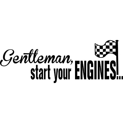 Vinyl Decal Gentleman Start Your Engines With Checkered Flag Racing Race Cars Sticker: Home & Kitchen